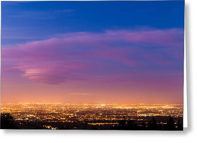 Outlook Greeting Cards - Dublin City at dusk during Blue Hour Greeting Card by Semmick Photo