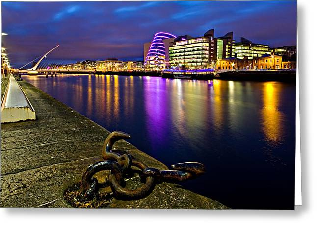 Samuel Greeting Cards - Dublin Docklands at Night / Dublin Greeting Card by Barry O Carroll