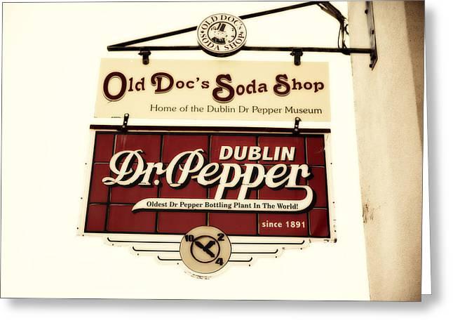 Bottle. Bottling Photographs Greeting Cards - Dublin Dr Pepper Sign Greeting Card by Charrie Shockey
