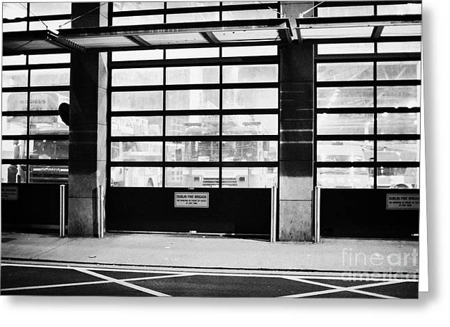 Brigade Greeting Cards - Dublin Fire Brigade Fire Station With Doors Closed At Night Republic Of Ireland Greeting Card by Joe Fox