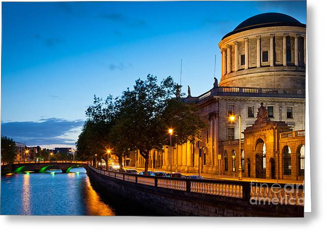 Liffey Greeting Cards - Dublin Four Courts Greeting Card by Inge Johnsson