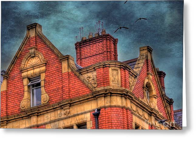 Red-roofed Buildings Greeting Cards - Dublin House Roof Top Greeting Card by Juli Scalzi