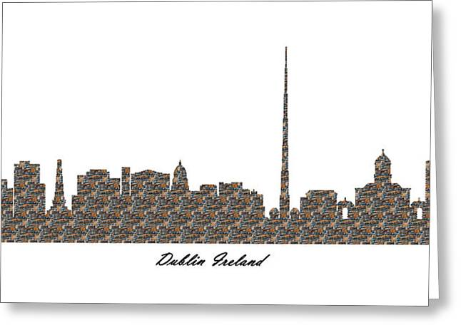 City Art Greeting Cards - Dublin Ireland 3D Stone Wall Skyline Greeting Card by Gregory Murray