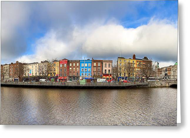 Reflections In River Greeting Cards - Dublin Ireland Panorama Greeting Card by Mark Tisdale
