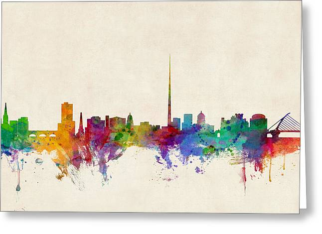 Skyline Greeting Cards - Dublin Ireland Skyline Greeting Card by Michael Tompsett