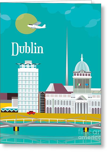Liffey Greeting Cards - Dublin Greeting Card by Karen Young