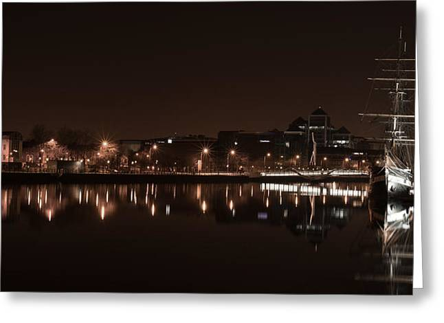 Jeanie Greeting Cards - Dublin Quay Scape Greeting Card by David Joyce
