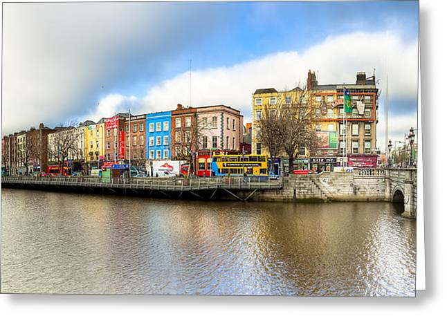 Winter Photos Greeting Cards - Dublin River Liffey Panorama Greeting Card by Mark Tisdale