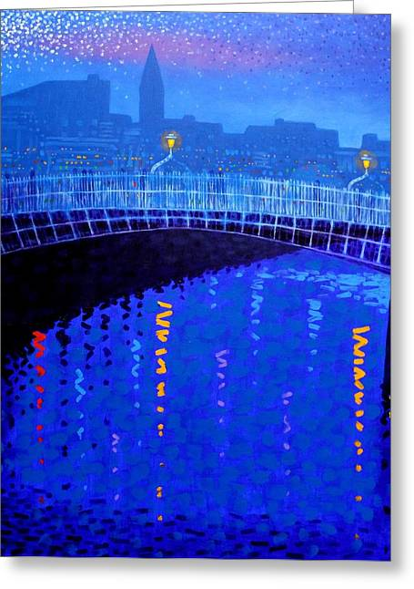 Cobalt Blues Greeting Cards - Dublin Starry Nights Greeting Card by John  Nolan