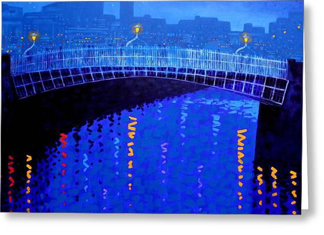 Dublin Starry Nights Greeting Card by John  Nolan