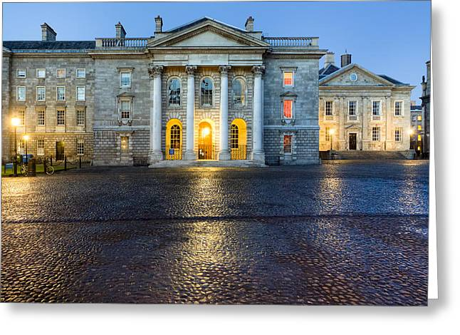 Dublin Trinity College Chapel at Night Greeting Card by Mark Tisdale
