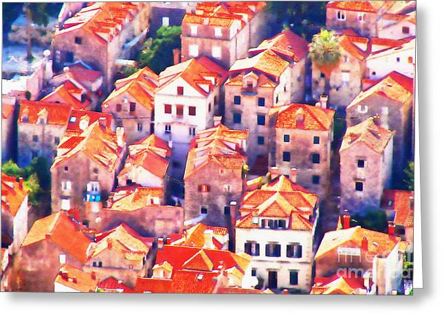Award Winning Art Greeting Cards - Dubrovnik Aerial Dream Greeting Card by Aston Pershing