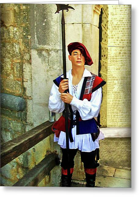 Slav Greeting Cards - Dubrovnik Guard Greeting Card by Joan  Minchak