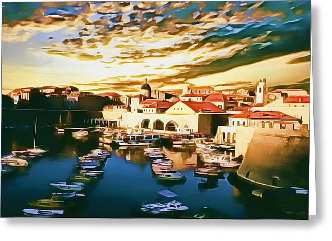 Photomanipulation Paintings Greeting Cards - Dubrovnik II Greeting Card by Nikola Durdevic