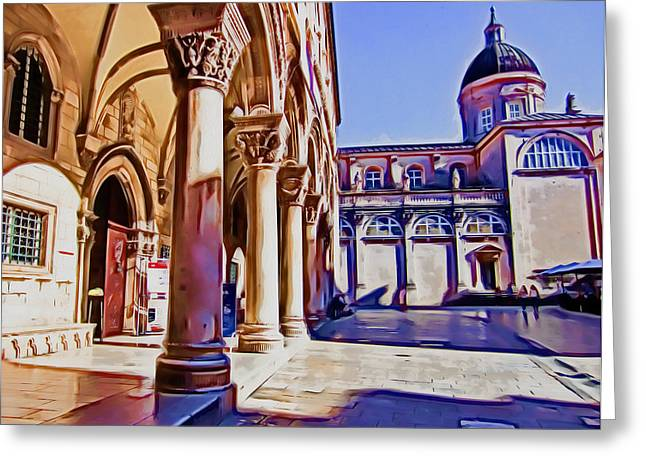 Photomanipulation Paintings Greeting Cards - Dubrovnik IV Greeting Card by Nikola Durdevic