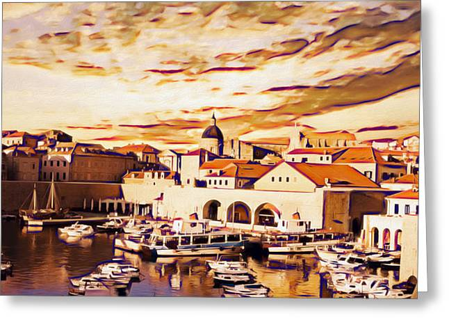 Photomanipulation Paintings Greeting Cards - Dubrovnik Greeting Card by Nikola Durdevic
