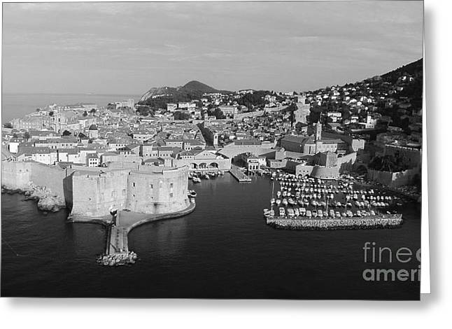 Award Winning Art Greeting Cards - Dubrovnik Panorama Aerial Greeting Card by Aston Pershing