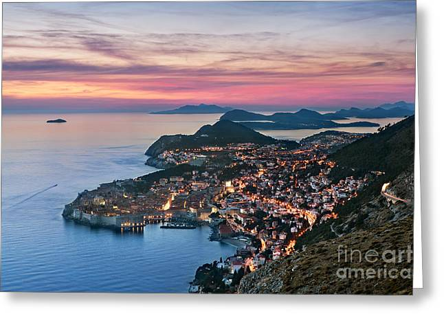 Warm Light Greeting Cards - Dubrovnik Greeting Card by Rod McLean