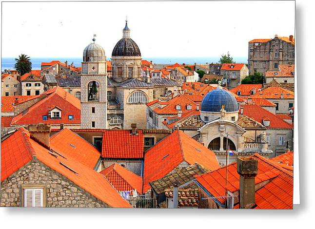 Red-roofed Buildings Greeting Cards - Dubrovnik Rooftops Greeting Card by Saya Studios