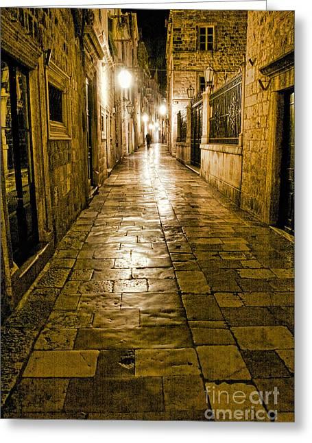 Crystal Nederman Greeting Cards - Dubrovnik Streets At Night Greeting Card by Crystal Nederman