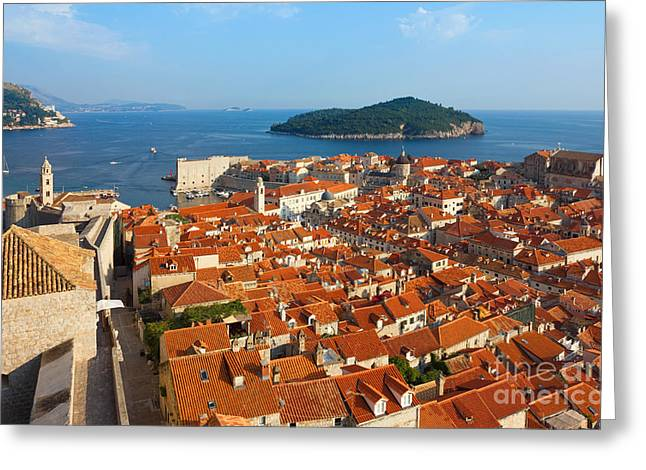 Recently Sold -  - Sea View Greeting Cards - Dubrovnik Sunny Afternoon Panoramic View with The Harbor and old Greeting Card by Kiril Stanchev