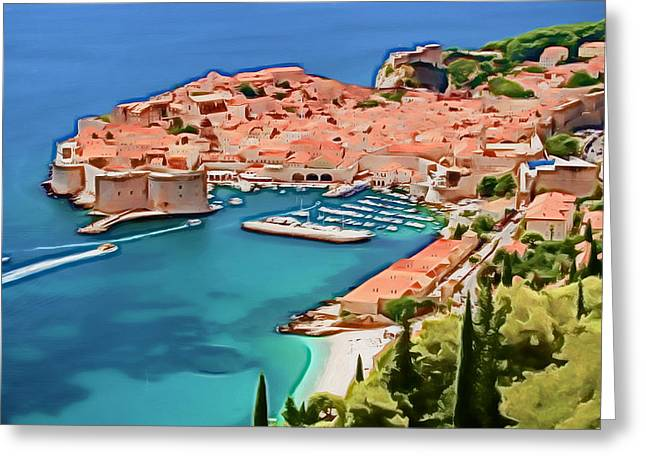 Photomanipulation Paintings Greeting Cards - Dubrovnik V Greeting Card by Nikola Durdevic