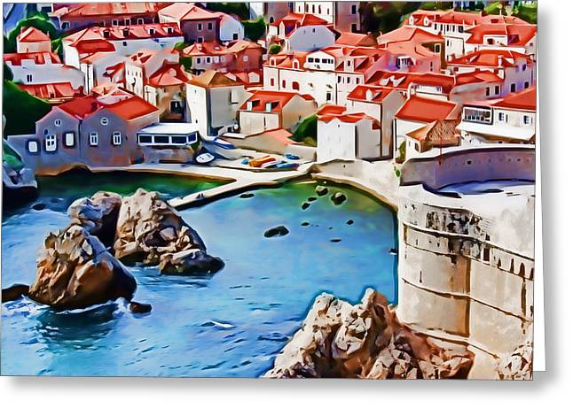 Photomanipulation Paintings Greeting Cards - Dubrovnik VI Greeting Card by Nikola Durdevic