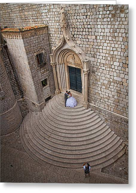 Historical Pictures Greeting Cards - Dubrovnik Wedding Portrait Greeting Card by Stuart Litoff
