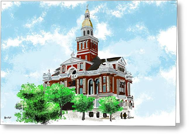 Award Digital Art Greeting Cards - Dubuque county courthouse Greeting Card by Bob Donner