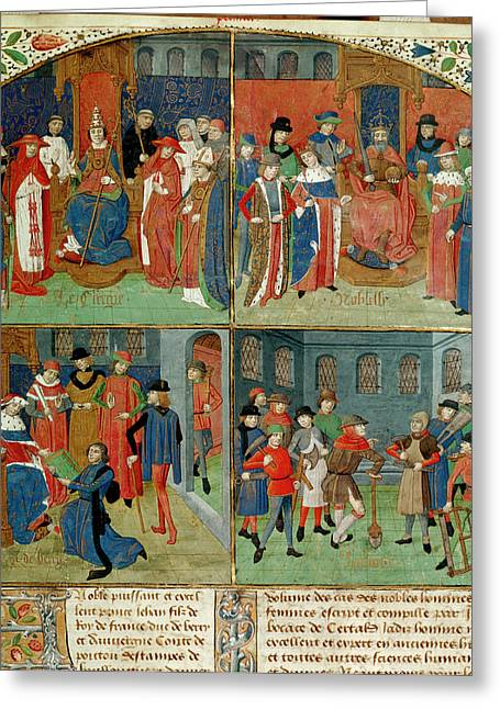 Duc De Berry Receiving The Book Greeting Card by British Library