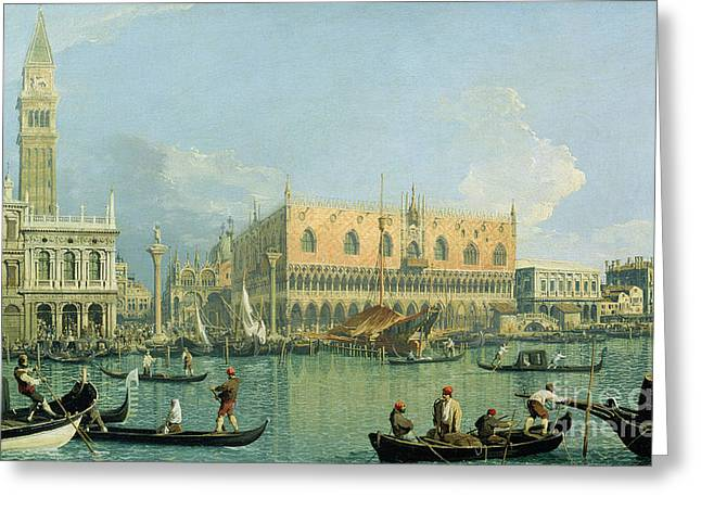 Campanile Greeting Cards - Ducal Palace   Venice Greeting Card by Canaletto