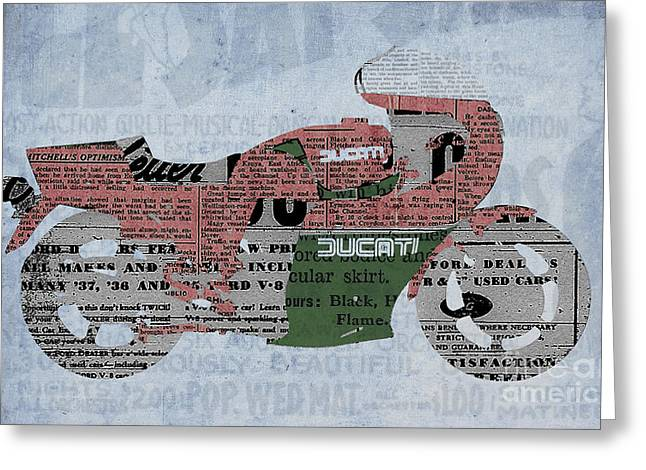 1983 Greeting Cards - Ducati 900 1983 - Old Newspaper Greeting Card by Pablo Franchi