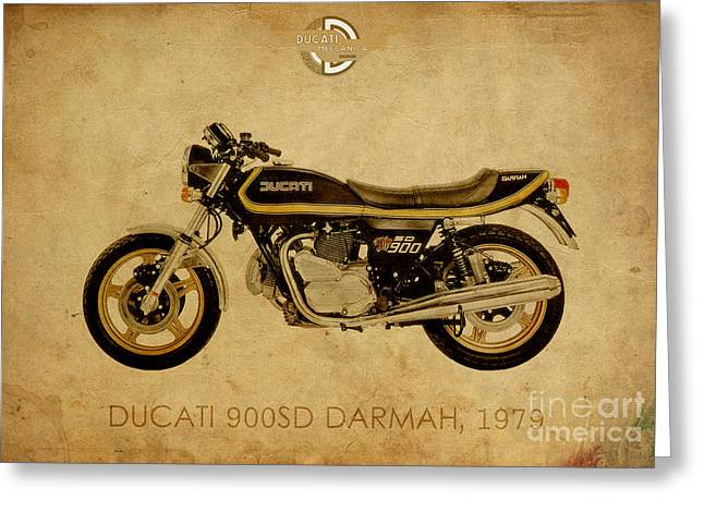 1960 Mixed Media Greeting Cards - Ducati 900SD Darmah 1979 Greeting Card by Pablo Franchi