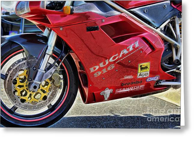 Cheryl Young Greeting Cards - Ducati Greeting Card by Cheryl Young