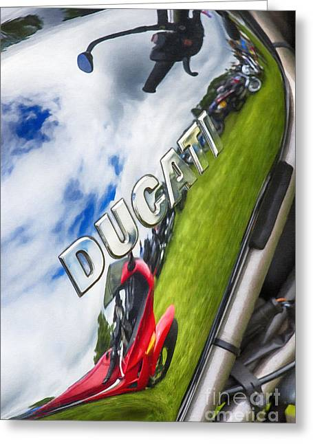 Digital.oil Greeting Cards - Ducati Chrome Greeting Card by Tim Gainey
