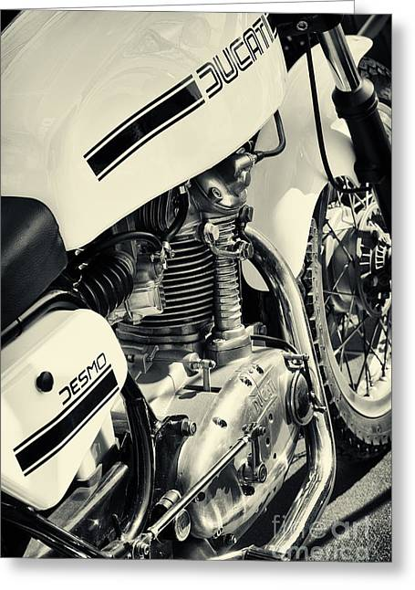 Split-tone Greeting Cards - Ducati Desmo 250cc Motorcycle Greeting Card by Tim Gainey