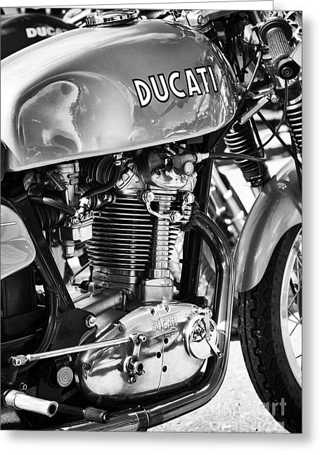 Tank Greeting Cards - Ducati Desmo MK 3 450cc Monochrome Greeting Card by Tim Gainey