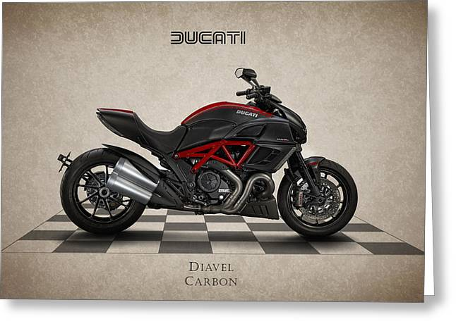 Carbon Greeting Cards - Ducati Diavel Carbon Greeting Card by Mark Rogan