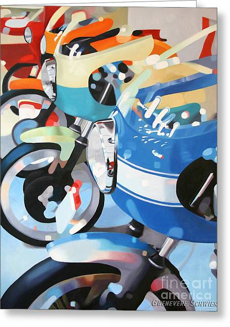 Blue Bike Greeting Cards - Ducati Line Greeting Card by Guenevere Schwien