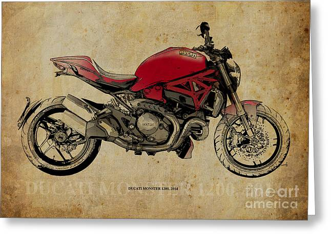 2013 Digital Art Greeting Cards - Ducati Monster 1200 - 2014 Greeting Card by Pablo Franchi