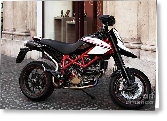Wrapped Canvas Greeting Cards - Ducati Motor Cross Greeting Card by John Rizzuto