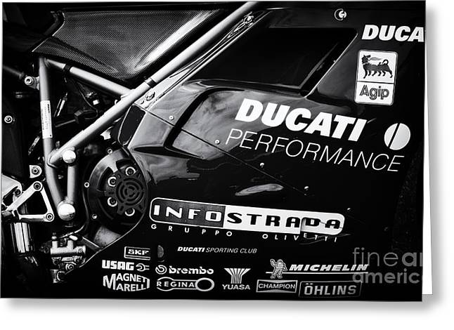 Bike Race Greeting Cards - Ducati Performance Greeting Card by Tim Gainey