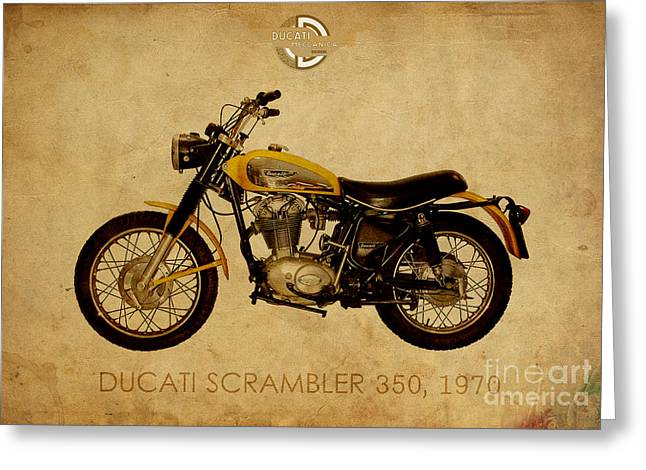 1960 Mixed Media Greeting Cards - Ducati Scrambler 350 1970 Greeting Card by Pablo Franchi