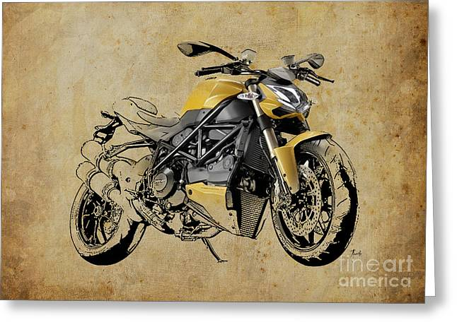 Digital Media Drawings Greeting Cards - Ducati Streetfighter 848 2012 Greeting Card by Pablo Franchi