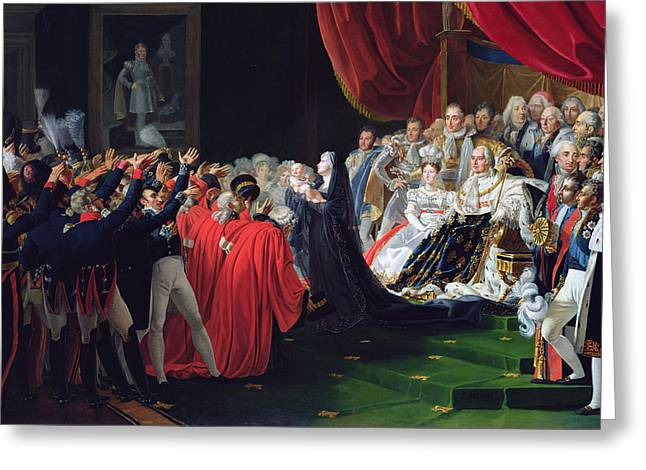 Duchess Greeting Cards - Duchess of Berry presenting the Duke of Bordeaux to the people and the army Greeting Card by Charles Nicolas Raphael Lafond