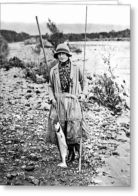 Duchess Of York Catches Trout Greeting Card by Underwood Archives
