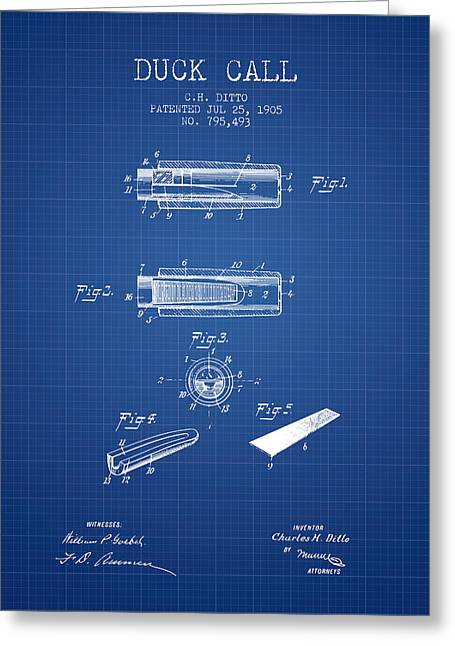Duck Hunting Greeting Cards - Duck Call Instrument Patent from 1905 - Blueprint Greeting Card by Aged Pixel