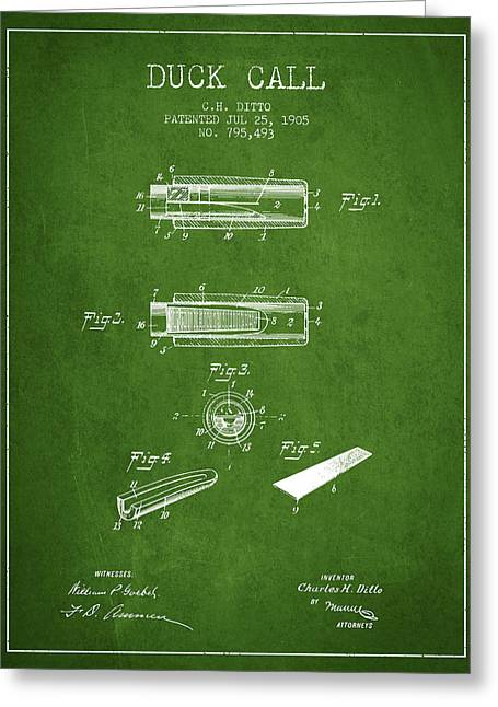 Duck Hunting Greeting Cards - Duck Call Instrument Patent from 1905 - Green Greeting Card by Aged Pixel