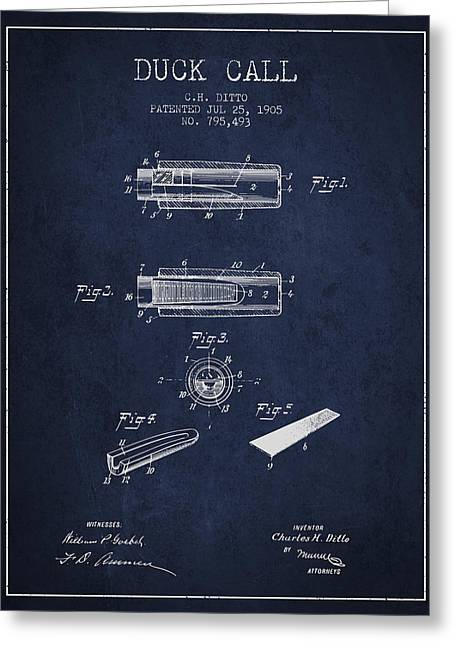 Duck Hunting Greeting Cards - Duck Call Instrument Patent from 1905 - Navy Blue Greeting Card by Aged Pixel