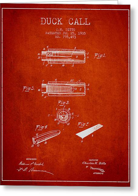 Duck Hunting Greeting Cards - Duck Call Instrument Patent from 1905 - Red Greeting Card by Aged Pixel